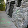 Essex: The pumping station behind the Essex Police Station was recently vandalized with spraypaint both on the building and sidewalk. Photo by Kate Glass/Gloucester Daily Times