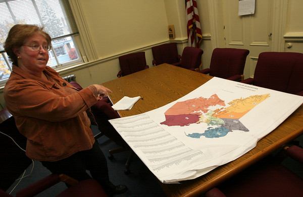 Gloucester: Gloucester City Clerk Linda Lowe discusses ideas for consolidating polling places to streamline the city's election. Photo by Kate Glass/Gloucester Daily Times