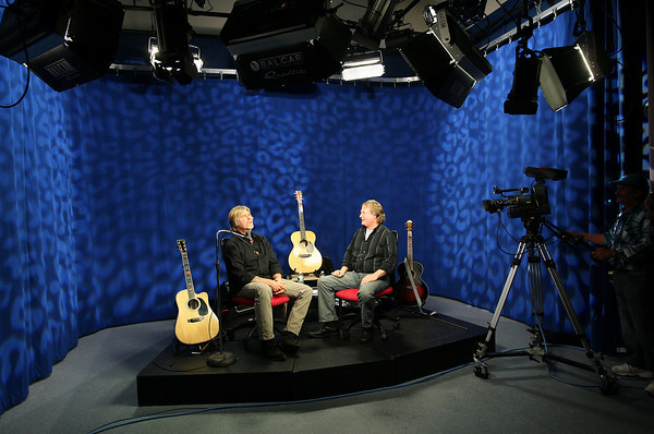 """Gloucester: Allen Estes and Peter Van Ness conduct a sound check before recording the first show of """"Local Music Seen with Allen Estes,"""" which will run on Cape Ann TV. Photo by Kate Glass/Gloucester Daily Times"""