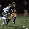 Reading: Bishop Fenwick's Kathryn Hart runs down the field during the MIAA Division 2 North Semi Final against Manchester Essex at Reading Memorial High School last night. Photo by Kate Glass/Salem News