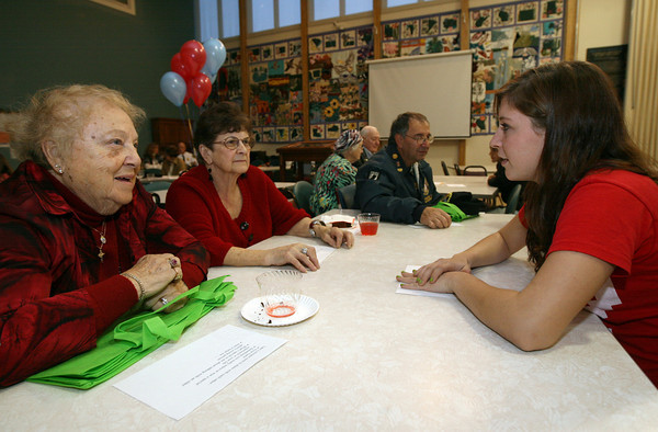 Gloucester: Molly Blewett, right, chats with Phyllis Camille and Carmella Scola at the Rose Baker Senior Center during an event bringing teens and seniors together. The program, which was sponsored by the Healthy Gloucester Collaborative, featured a performance by the Docksiders, viewing of a public service announcement, and allowed both teens and seniors to share their experiences with one another. Photo by Kate Glass/Gloucester Daily Times