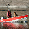 Essex: Steve Hemeon and his dog, Mason, motor around Conomo Point yesterday afternoon. Hemeon says it's one of their last trips out this season. Photo by Kate Glass/Gloucester Daily Times