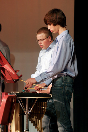 """Rockport: Brendan Pratt and Robin Lovell play the xylophones with the Rockport High School band in """"The Big Gig"""" on Thursday night. The Viking Band, Fifth Grade Band, Sixth Grade Band, and Seventh and Eighth Grade Band also performed during the show. Photo by Kate Glass/Gloucester Daily Times"""
