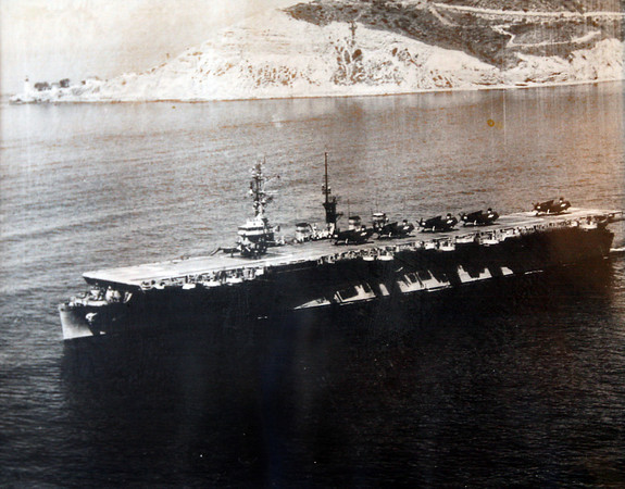 A photo of the USS Wright in San Diego, which William Haselgard was on during Operation Wigwam in 1955.