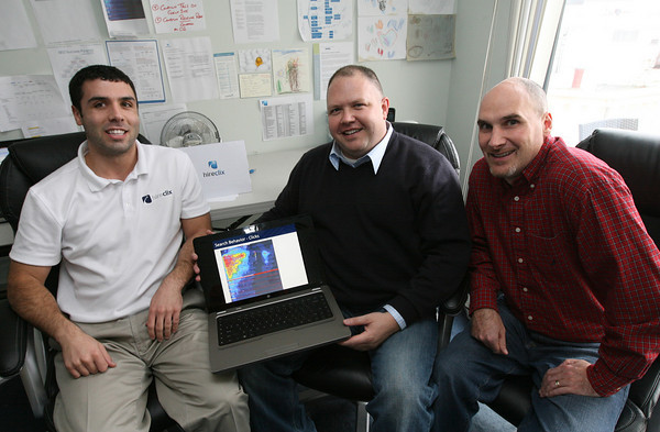 Gloucester: Tony Testaverde, Neil Costa, and Scott Ryan of HireClix.com, a recruitment advertising agency, which is based in Gloucester. Photo by Kate Glass/Gloucester Daily Times