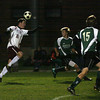Rockport: Rockport's Cam Tibert heads the ball past Pentucket's defense during their 1-0 loss last night. Photo by Kate Glass/Gloucester Daily Times