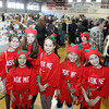 Rockport: Some of the Ask Me elves who were helping out at the Rockport PTO Holiday Fair last Saturday pose for a picture in the Rockport High School gymnasium.  This year the fair was bigger than ever with 70 vendors. Pictured from left is Sophie Trombour, Alexa Kamm, Lauren Mason, Kiva Trumbour, Emma Rukeyser, Jack Rukeyser, back, and Anna Catena. Mary Muckenhoupt/Gloucester Daily Times