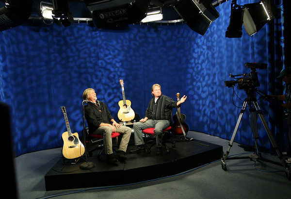 "Gloucester: Allen Estes and Peter Van Ness conduct a sound check before recording the first show of ""Local Music Seen with Allen Estes,"" which will run on Cape Ann TV. Photo by Kate Glass/Gloucester Daily Times"