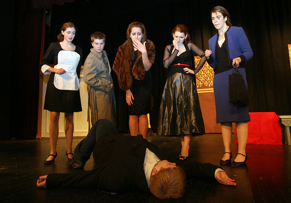"""Gloucester: Kelly O'Dea, Ryan Hull, Alea Capello, Elise Nicastro, and Patrice Kelly react as they come across a dead body (Nick Kearns) while rehearsing for """"It Was a Dark and Stormy Night,"""" an adaptation of the board game Clue that was written by three Gloucester High School students. Photo by Kate Glass/Gloucester Daily Times"""
