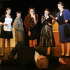 "Gloucester: Kelly O'Dea, Ryan Hull, Alea Capello, Elise Nicastro, and Patrice Kelly react as they come across a dead body (Nick Kearns) while rehearsing for ""It Was a Dark and Stormy Night,"" an adaptation of the board game Clue that was written by three Gloucester High School students. Photo by Kate Glass/Gloucester Daily Times"