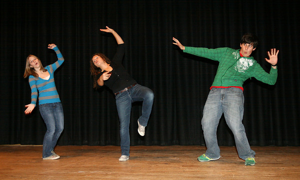 """Rockport: Tchelsea Grenfell, Emma Ouellette, and Nathan Cruz rehearse a scene for """"Comedy Tonite,"""" an evening of comic scenes and one-act plays, which will be performed on Friday, December 10th at 7:30 p.m. Photo by Kate Glass/Gloucester Daily Times"""
