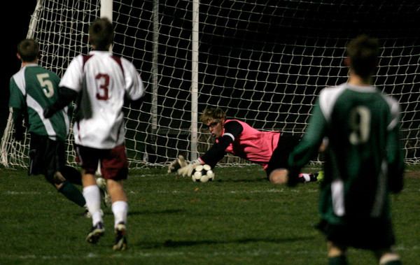 Rockport: Rockport's Keady Segel dives to make a save during their game against Pentucket last night. Photo by Kate Glass/Gloucester Daily Times