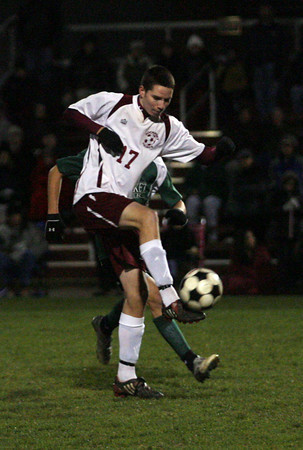 Rockport: Tucker Meredith keeps the ball out of Rockport's defensive end during their game against Pentucket last night. Photo by Kate Glass/Gloucester Daily Times