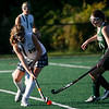 Manchester: Manchester Essex's Olivia Dumant hits the ball past Pentucket's Cassandra Koegel during the Hornets' 3-1 win yesterday. Photo by Kate Glass/Gloucester Daily Times Monday, October 5, 2009
