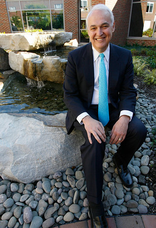Beverly: Ken Hanover, the new CEO of Northeast Health, sits in a garden at Beverly Hospital. Photo by Kate Glass/Gloucester Daily Times Wednesday, October 14, 2009