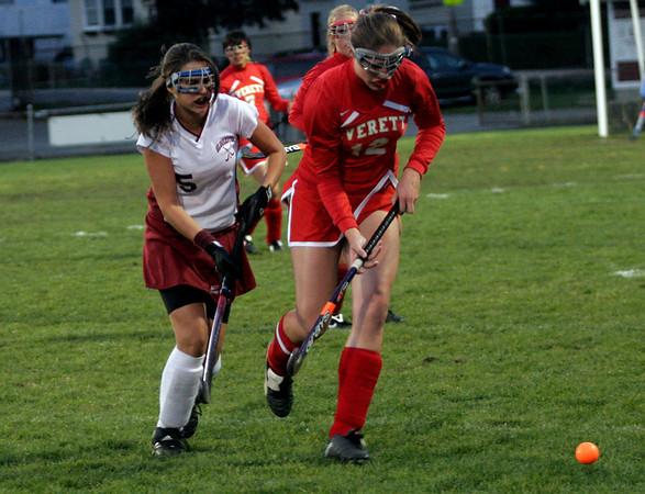 Gloucester: Gloucester's Hilary Ellis chases down Everett's Lisa Alyward at Newell Stadium last night. Photo by Kate Glass/Gloucester Daily Times Thursday, October 8, 2009