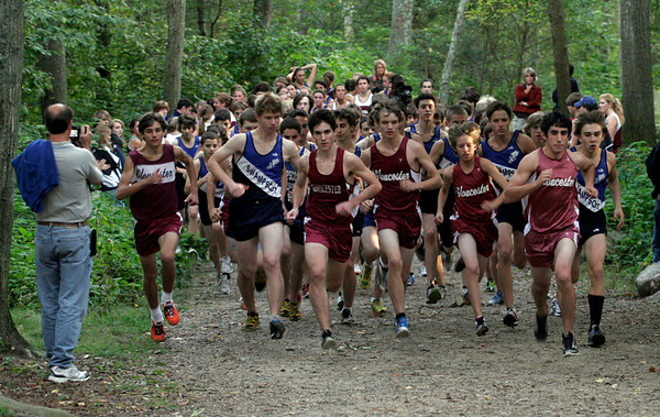 Gloucester: The Gloucester boys cross-country team led Swampscott at the start of the race and finished the top 4 runners in their meet at Ravenswood Park yesterday. Photo by Kate Glass