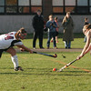 Rockport: Manchester Essex's Piper Browne blocks a shot by Rockport's Kaylee Stanton during their game at Rockport yesterday. Photo by Kate Glass/Gloucester Daily Times Thursday, October 29, 2009