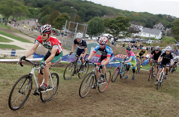 Gloucester: Cyclists competing in the men's category three race follow the twisting course during the 11th annual Grand Prix cyclocross race at Stage Fort Park Sunday afternoon.  Mary Muckenhoupt/Gloucester Daily Times