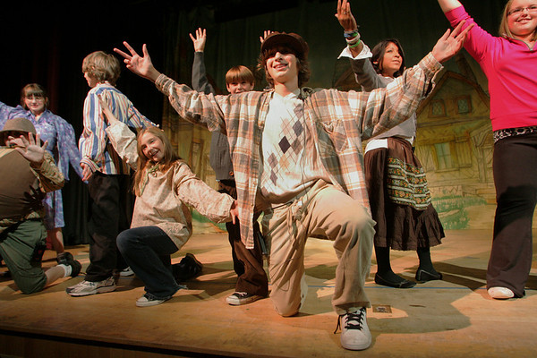 Rockport: Logan Trupiano, playing Charlie, rehearse a scene with the cast of Willy Wonka Jr. presented by Rockport Middle School at the Lane Performing Art Center at the high school Wednesday afternoon.  The play will be performed tonight and tomorrow night at 7 p.m. and on Saturday and Sunday at 2 p.m.. at the Lane Performing Art Center.  General Admission is $8, $6 for students and seniors. Mary Muckenhoupt/Gloucester Daily Times