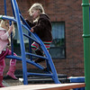Rockport: Madelyn Christensen, left, and her friend Lily Christopher ignor their parents' calls to leave the playground as they play on the jungle gym at the Emily Grace Place playground Friday afternoon.  Mary muckenhoupt/Gloucester Daily Times