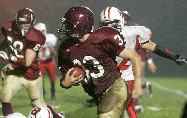 Gloucester: Gloucester running back Jordan Shairs runs for a touchdown during the football game against Salem at Newell Stadium. Shairs scored the first touchdown for the fishermen Friday night. Mary Muckenhoupt/Gloucester Daily Times