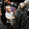 Gloucester: Ryan Bergin, 6, and KC Walsh, 7, check out a skeleton decoration at the Joke Shop yesterday afternoon. Photo by Kate Glass/Gloucester Daily Times Tuesday, October 20, 2009