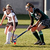Rockport: Rockport's Haley Lorden and Manchester Essex's Amelia Cohen try to control the ball during their game at Rockport yesterday. Photo by Kate Glass/Gloucester Daily Times Thursday, October 29, 2009