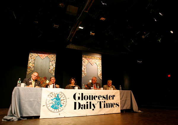 Gloucester: The five candidates who are seeking the four at-large seats participate in a debate hosted by the Gloucester Daily Times at Gloucester Stage on Monday night. The candidates are: current Ward 1 councilor Jason Grow; incumbent at-large councilors Bruce Tobey, Sefatia Romeo Theken and Joseph Ciolino; and retiring City Clerk Robert Whynott. Photo by Kate Glass/Gloucester Daily Times Tuesday, October 26, 2009