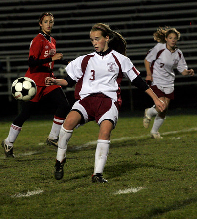 Gloucester: Kali Cook keeps an eye on the ball during their game against Saugus at Newell Stadium last night. Photo by Kate Glass/Gloucester Daily Times Wednesday October 21, 2009