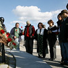Gloucester: Captain Dean Mould, Tranquilino Nu–ez, Rev. Rona Tyndall, Nina Groppo, Melba Saravia, Milton Ortiz, and Romel Nu–ez gather at the Fishermen's Memorial to honor Jaime Ortiz, who fell overboard Mould's lobster boat, Dominatrix, on Tuesday. Photo by Kate Glass/Gloucester Daily Times Wednesday, October 14, 2009