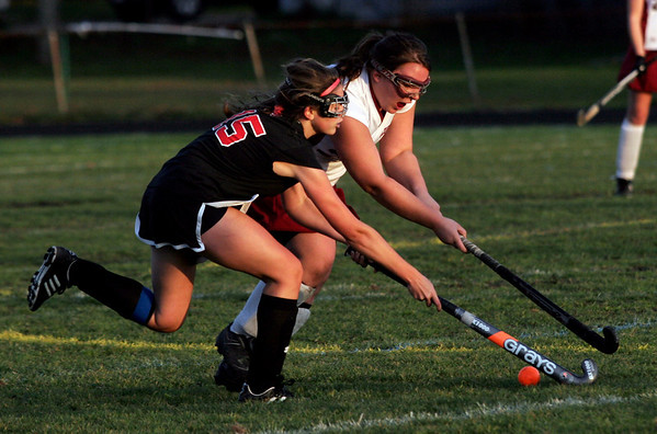 Gloucester: Gloucester's Emily Interrante and Marblehead's Gretchen Rowe battle for the ball at Newell Stadium yesterday afternoon. Photo by Kate Glass/Gloucester Daily Times Monday, October 26, 2009