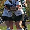 Rockport: Rockport's Rachel Rowe hugs teammate Sabrina McCarthy after McCarthy scored their lone goal in their 6-1 loss to Manchester yesterday. Photo by Kate Glass/Gloucester Daily Times Thursday, October 29, 2009