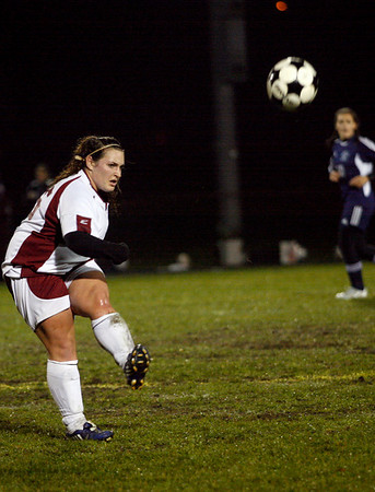 Gloucester: Gloucester's Katina Tibbetts boots the ball up the field during their 3-2 win over Swampscott last night. Photo by Kate Glass/Gloucester Daily Times Tuesday, October 27, 2009