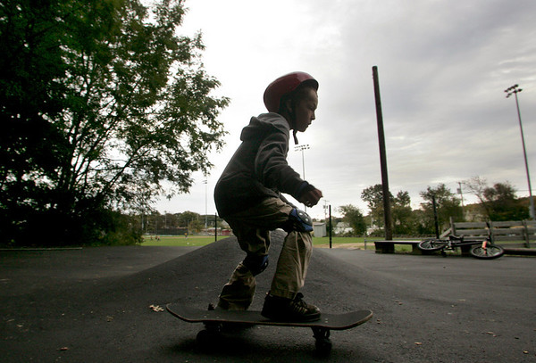 Rockport: Walker Knowles, 7, of Rockport skates at the Matt Waddell Skate Park behind the YMCA Ben Beyae Teen Center Friday evening. The skate park is undegoing steps to improve the safety of the area, as part of a wider effort by police and teen center officials to crack down on illegal activity happening in nearby woods. Mary Muckenhoupt/Gloucester Daily Times