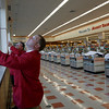 Gloucester: John Doherty, Assistant Manager, right, and Ray Castles, Store Director, open the shades in Market Basket at Gloucester Crossing. The store will be opening at 7am tomorrow. Photo by Kate Glass/Gloucester Daily Times Monday, October 5, 2009