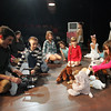Gloucester: Brainna Ward, right, arranges some stuffed animals for a movie scene as filmmaker Oliver Horovitz works with the Gloucester Stage Youth Acting Workshop fall session at the Gloucester Stage Company Saturday afternoon.  All the stuffed animals, which were brought in by the kids, played important roles in the mini movie filmed by Horovitz. Mary Muckenhoupt/Gloucester Daily Times