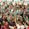 Manchester: The Hornets cheer as loud as they can during the pep rally held in the Manchester Essex High School for fall sports Friday afternoon.  This was the first pep rally held in the new gymnasium. Mary Muckenhoupt/Gloucester Daily Times