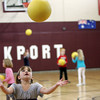 Rockport: Olivia McInerney catches a dodge ball while playing with her kindergarten classmates in Erin Canniff's gym class Thursday afternoon. Mary Muckenhoupt/Gloucester Daily Times