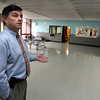 Gloucester: Asst. Superintendent Brian Tarr discusses current uses of the cafeteria at the Fuller School, which has been closed since 2008. It is currently used for flu vaccine clinics as well as an emergency shelter. Photo by Kate Glass/Gloucester Daily Times