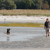 Gloucester: Ross LoGrasso and his dog, Tyler, walk across Wingaersheek Beach on Thursday afternoon. LoGrasso says they usually go to Long Beach, but came to Wingaersheek and loved it. Photo by Kate Glass/Gloucester Daily Times