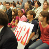 Malden: Students who attend the Gloucester charter school sit through the hearing to determine the future of the new Gloucester charter school at the State Department of Education offices in Malden Friday afternoon. Students pictured are, from right, Alannah Allen, Ryker Bos, Alexis Exama and Emma Allen. Mary Muckenhoupt/Gloucester Daily