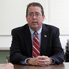 Gloucester: Congressional challenger Bill Hudak outlines his stands on the fishing industry and other issues during a visit to the Gloucester Daily Times office Thursday morning. Mary Muckenhoupt/Gloucester Daily Times