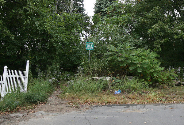 Gloucester: Rockport and Gloucester officials are eyeing the possibility of connecting Harrison Ave. to the Blackburn Industrial Park as a gated emergency access road. Currently a walking path connects the two. Photo by Kate Glass/Gloucester Daily Times