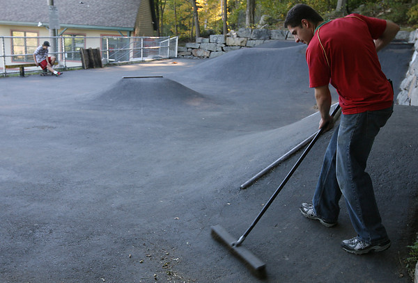 Rockport: Millard Ring sweeps the Matt Waddell Skate Park on Sunday afternoon. Ring runs a recycling program at the YMCA Ben Beyae Teen Center to help with maintenance costs of the park. Photo by Kate Glass/Gloucester Daily Times