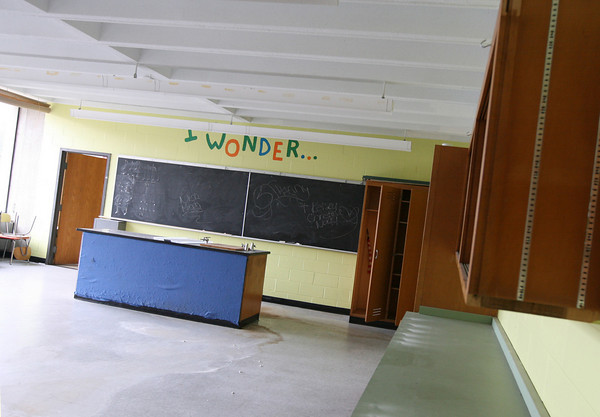 Gloucester: An empty science classroom at the Fuller School, which has been closed since 2008. Photo by Kate Glass/Gloucester Daily Times