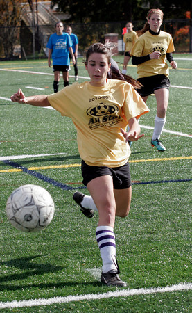 Manchester: Julia Sanfilippo of Rockport chases after the ball during the Cape Ann League All-Star game at Hyland Field yesterday. Photo by Kate Glass/Gloucester Daily Times