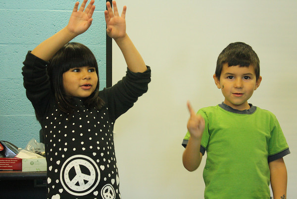 Rockport Elementary School Kindergarteners Sahara Poole, left, and Jacob Kelleher, dance to a Halloween themed song. Jesse Poole/Gloucester Daily Times