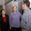 Harvard Professor and US Democratic Senate Candidate Elizabeth Warren, center, and State Representative Ann-Margaret Ferrante, left, talk with the owner of Intershell Seafood, Monty Rome on Thursday afternoon on Warren's visit to Gloucester. David Le/Gloucester Daily Times