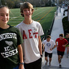 ALLEGRA BOVERMAN/Staff photo. Manchester: Manchester Essex Cross Country teammates Fiona Davis, left, a sophomore, and Cameron Holley, right, a freshman.